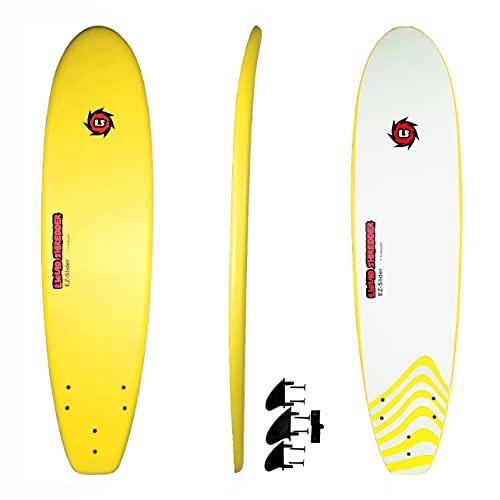 Liquid Shredder EZ-Slider 7ft Yellow-Premium Foam Deck Surfboards-Wax-Free, Soft-Top, Slick...