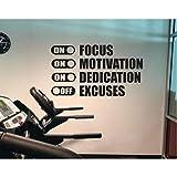 XXSCZ Fokus Motivation Engagement Ausreden Off Wandaufkleber für Gym Fitness Vinyl Wandtattoo Schlafzimmer Wohnkultur Klassenzimmer 100x56 cm