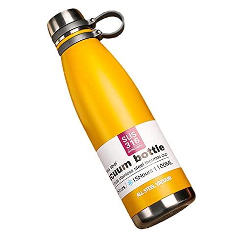 GHJGHJ Sesenta y Cinco 0ML / 850ML / 1100ML Deporte Botellas de Agua Doble Pared Thermos Botella de Agua 306 Acero Vacío Portátil Gimnasio A Prueba de Fugas Hervidor de Fitness
