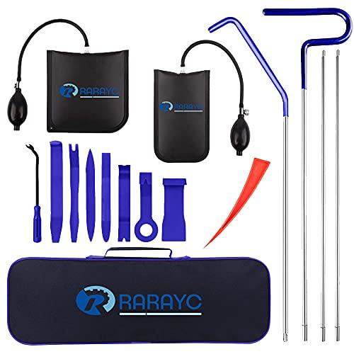 RARAYC Car Tool Kit | Long Reach Grabber, Air Wedge Pump | Non-marring Wedges | Pry Tool | Carrying Case Bag