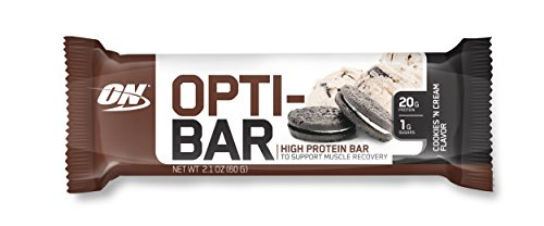 OPTIMUM NUTRITION Opti-Bar, Low Sugar Meal Replacement Whey Protein Bar, Flavor: Cookies N Creme, 12 Count