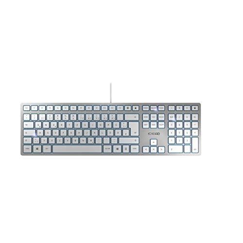 CHERRY KC 6000 SLIM, QWERTZ, Deutsches Layout, USB Keyboard, Ultraflaches Design, Kabelgebunden, Weiß-Silber