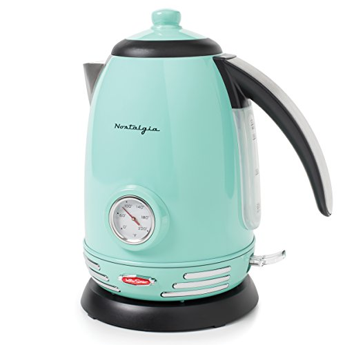Nostalgia RWK150AQ Retro Stainless Steel Electric Water Kettle, Holds 1.7 Liters, Boil-Dry Protection, 360-Degree Rotating Base, Water Level Indicator Window, Perfect For Tea, Hot Chocolate, Coffee