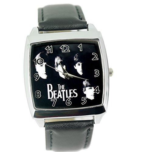 Taport® Armbanduhr Design: Beatles Quarzuhr, quadratische Uhr, schwarzes Uhrenarmband aus Echtleder, mit Ersatzbatterie und Geschenktasche BF E2