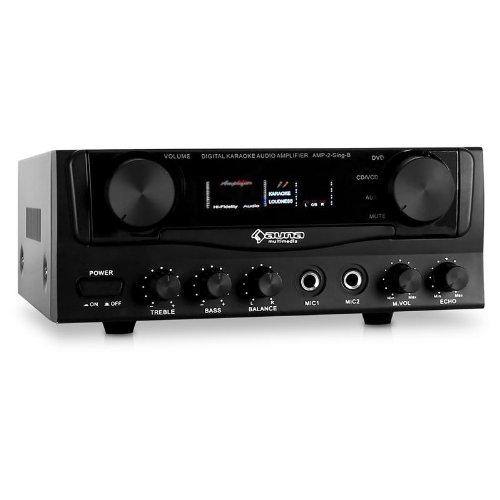 AUNA Amp-2 Amplificador HiFi (400 W, 2, entradas para micrófono, 2 entradas RCA, Entrada Jack AUX, Sistema PA, Ecualizador de 2 Bandas, Efectos Eco y delay, diseño ultracompacto) - Negro