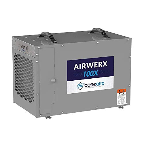 BaseAire AirWerx100X Whole House Dehumidifier, Removal 100 Pints at AHAM, 15.7 Gallons, 5 Years Warranty, cETL Listed, Remote Control, Crawl Space & Basement Dehumidifier with a Pump, Gray