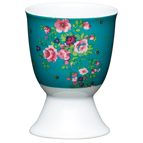 Kitchen Craft KCEGGFROSE Coquetier Floral Rose désign en Porcelaine Bleu, 9 x 12 x 16 cm