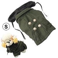 ペット用品 毛皮の襟犬のコートペット服、サイズとペットアパレルゴージャスな毛織物:L(ディープグリーン) 人格はペット服をドレスアップ (色 : Deep Green)