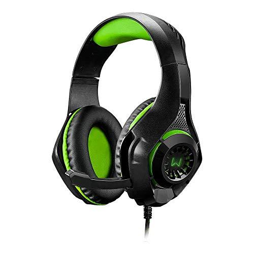 Headset Gamer Warrior Rama P3+USB Stereo Adaptador P2 LED Verde - PH299, Warrior, Microfones e fones de ouvido, Preto/Verde