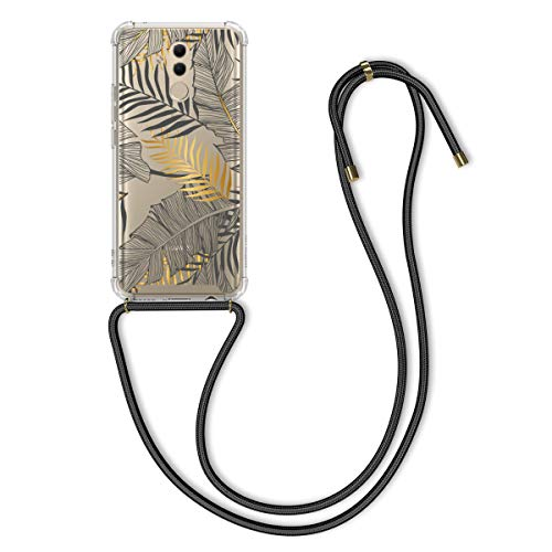 kwmobile Hülle kompatibel mit Huawei Mate 20 Lite - Silikon Handyhülle mit Kette - Gelb Grau Transparent Dschungel
