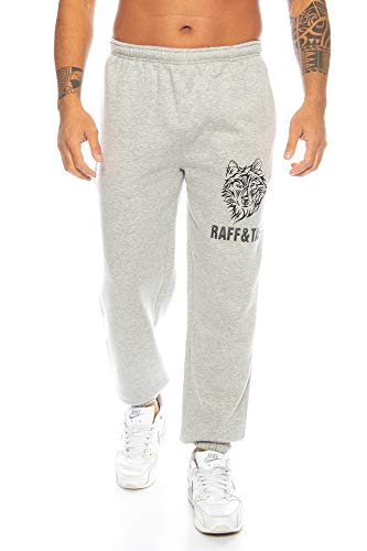 Raff&Taff Herren Hose \'Winter Wolf\' M - 4XL | Sporthose Sweatpants Pyjamas Übergrößen Funtionshose Trainingshose Jogginghose | Premium Baumwolle (Hellgrau, M)