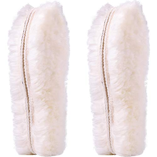Ailaka 2 Pairs Women's Premium Thick Sheepskin Insoles/Inserts, Warm Fluffy Fleece Wool Replacement Insoles for Shoes Boots Slippers