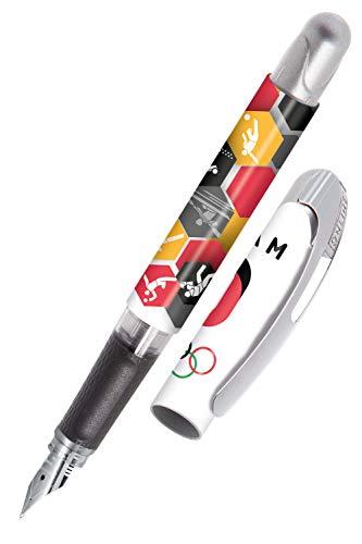 ONLINE College Team-D - Pluma estilográfica para diestros (punta mediana de iridio de alta calidad, cartuchos de tinta estándar, producto con licencia Olímpica)