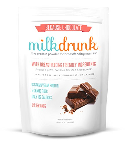 Milk Drunk - Chocolate Dairy Free Protein Powder for Breastfeeding - 20 Servings of Vegan Protein & Lactation-Boosting Ingredients - Oats, Flaxseed, Brewer's Yeast & Fenugreek - Gluten Free