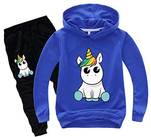 Silver Basic Chándal de Manga Larga para Niñas Sudadera con Capucha y Pantalones de Unicornio Conjunto de 2 Piezas Sudadera para Niños 110,Azul a-1…