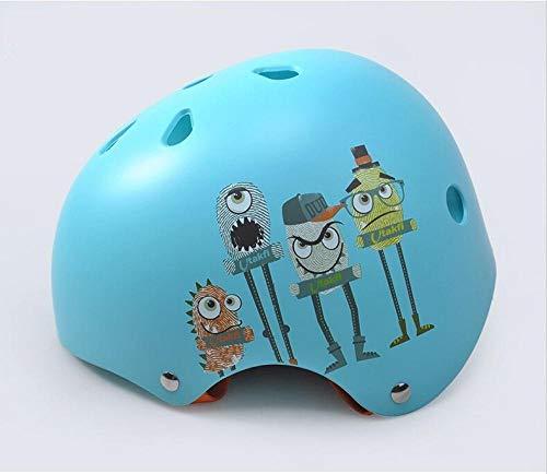 Rollschuh Kinder verstellbare Größe Helm Fahrradhelm SkateboardAuto Schlittschuhe Sport Hip-Hop Helm-Sky Blue M (52-58CM) _M (52-58CM) über 9 Jahre alt