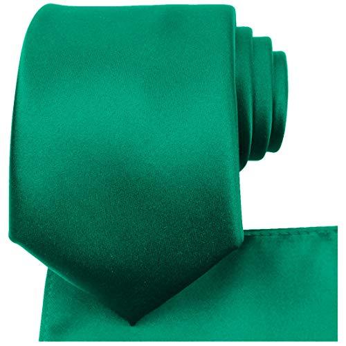 KissTies Emerald Green Tie Set Satin Wedding Ties + Pocket Square + Gift Box