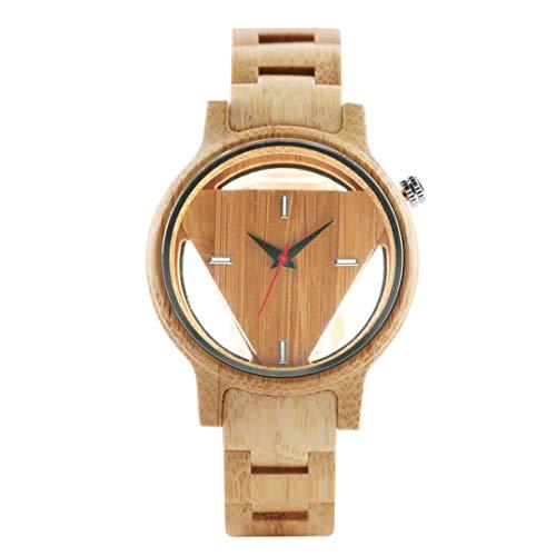 HBODHBGS Einzigartige hohles Dreieck Bambus-Holz-Uhr-Mann-Handgemachte natürliche Adjustable Holz-Quarz-Uhr-kreative Male Novel Weihnachtsgeschenke 2
