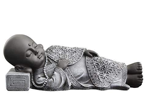 Tiefes Kunsthandwerk Buddha Figur liegend aus Stein - Schiefergrau, Statue frostsicher und wetterbeständig für Haus und Garten