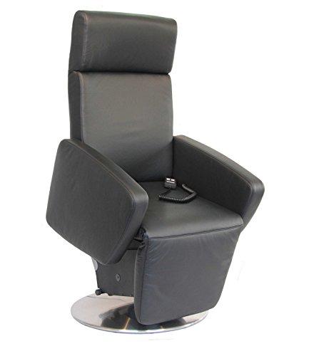 DEVITA elektrischer Aufstehsessel Fernsehsessel Relaxsessel Pflegesessel mit Aufstehhilfe Imola Lift drehbar 360°, Metallteller, bis 120 kg (elektr.verstellbar Akku, Echtleder schwarz)