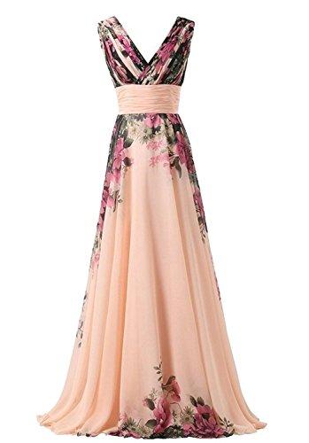 emmarcon Abito da Cerimonia Donna in Chiffon Damigella Vestito Lungo Elegante Floreale da Festa Party-Pink Peach -L(Busto 92cm)
