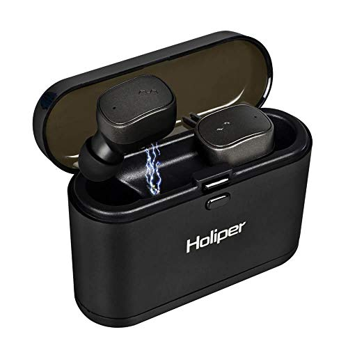 Holiper Auriculares Bluetooth 5.0 con Micrófono, Bateria Larga Duracion, True Wireless Earpods in Ear sin Cable, Cascos Inalámbricos para Celulares Móvil, Control Volumen, Negro