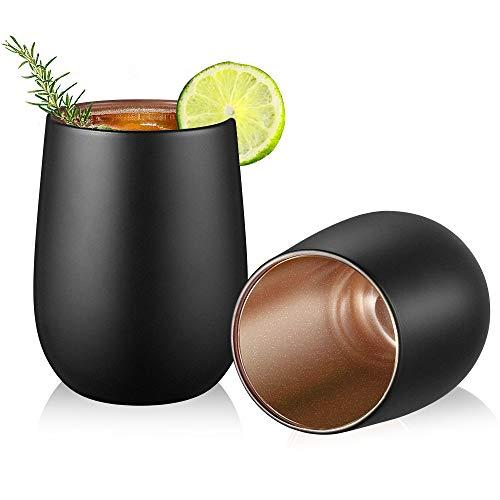 Glastal Vasos de doble pared de 350 ml (capacidad completa), juego de 2, color negro mate, vasos de agua, vasos de zumo, tazas de café con pared interior intermitente de oro rosa