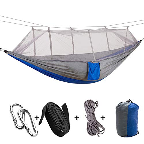XIANGEN Camping Hammock with Mosquito Net, Outdoor Nylon Travel Hammock 1-2 Person Portable Outdoor Camping Hammock with Mosquito Net Hanging Bed for Swing