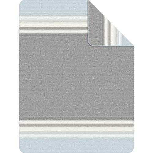s.Oliver Kuscheldecke 1639 150x200 cm: Wolldecke mit Farbverlauf blau grau hellblau, Pflegeleichte Baumwollmischung weich und anschmiegsam