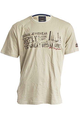Herren T-Shirt Shirt Knopfleiste Kurzarmshirt Beige Gr. XXL