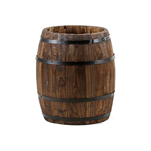 CJSWT Wooden Whiskey Barrel Flower Planter,for Bar Cafe Garden Decoration,25CM