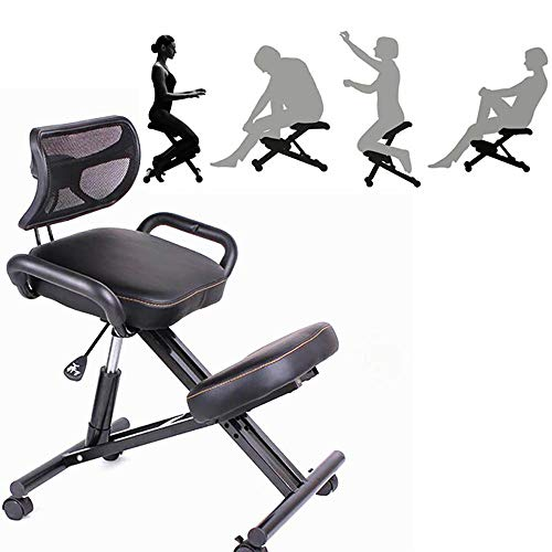 Haol Ergonomic Kneeling Chair, Office Computer Chair with Adjustable Backrest Saddle Seat Correcting Posture Waist Chair (Black)