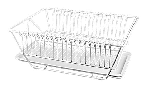 WANGIRL Mesa de Almacenamiento de Frutas y Vegetales Cubiertos de Cocina Rack de Drenaje: Platos Estantería Decking Drip Rack, Negro LOLDF1 (Color : White)