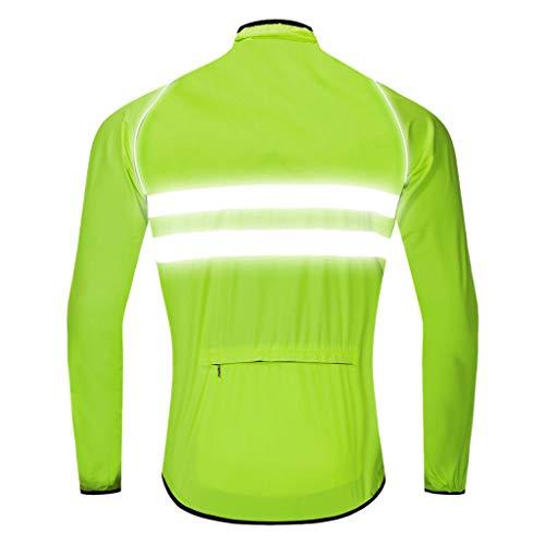 Fenteer Winddichte Fahrradjacke Regenjacke Laufjacke Fahrradtrikot Langarm Radtrikot MTB Mountainbike Jacket - Grün, L