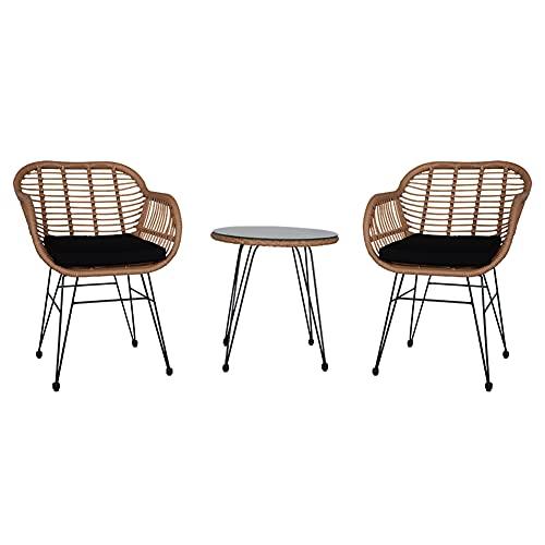 N / B Conjunto de Muebles de bistró de Cuerda Liviana de 3 Piezas, conversación de Patio al Aire Libre, Conjunto de bistró, Grupo de Asientos de Patio con Mesa de Vidrio y 2 sillas