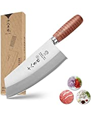 SHI BA ZI ZUO Chef Knife Chinese Cleaver Kitchen Knife Superior Class 7-inch Stainless Steel Knife with Ergonomic Design Comfortable Wooden Handle