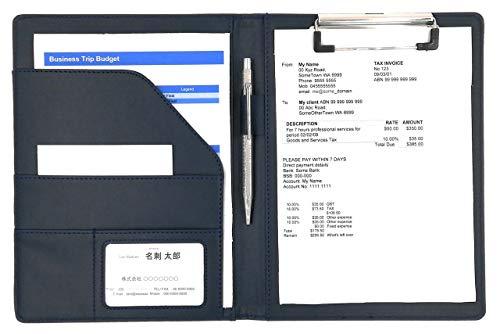 MT's SHOP クリップボード A5 クリップ ファイル PUレザー 書類 フォルダ バインダー カード ポケット ペン ホルダー 搭載 (紺, A5)