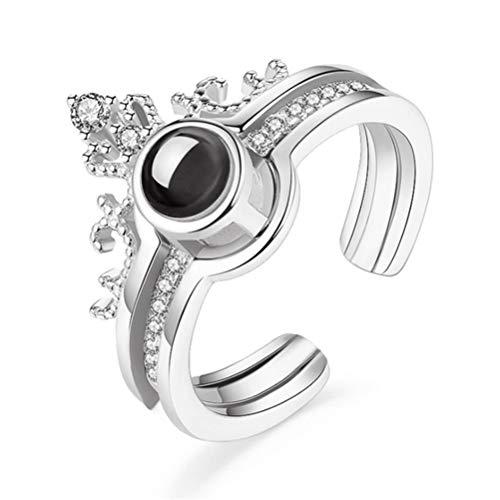 AIJIANG Anillo abierto 2 en 1 con 100 idiomas y texto en alemán 'Ich Liebe Dich', anillo de proyección romántico, anillo de boda, anillo de corazón