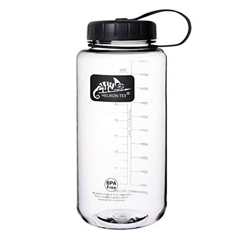 Helikon Unisex-Adult Tex TRITAN Bottle Wide Mouth Wasserflasche (1 Liter) -Clear, Schwarz, Einheitsgröße
