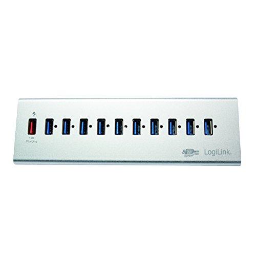 LogiLink UA0229 USB 3.0 Hub 10-Port + 1x Schnell-Ladeport mit Smart IC / LED Anzeige / Überspannungsschutz, für Windows & MAC OS