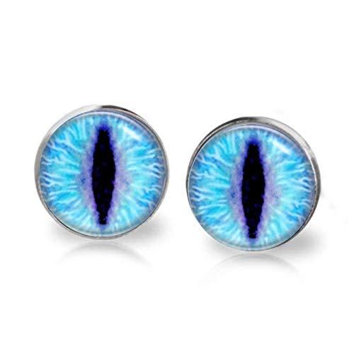 Flower world - Lámpara de cristal con ojos de gato azul y dormos, poste quirúrgico de acero...
