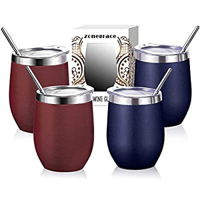 Zonegrace 4 pack 12 oz Stainless Steel Stemless Wine Glass Tumbler, Double Wall Vacuum Insulated (Wine Red & Navy Blue 4 Pack) Wine Tumbler with Lids Set of 4 for Coffee, Wine, Cocktails