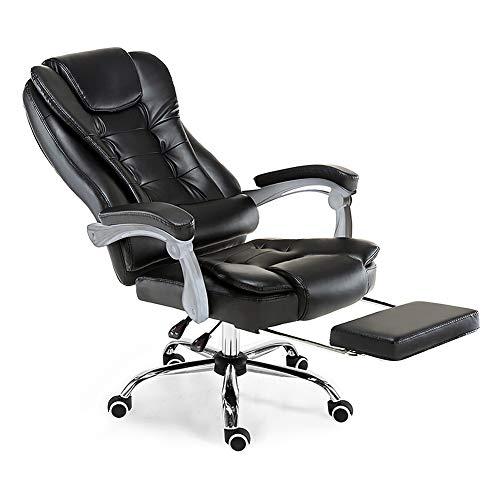Bürostuhl, mit verstellbarer Rückenlehne, Leder, Massagesessel, Chefsessel mit Fußstütze, Schwarz