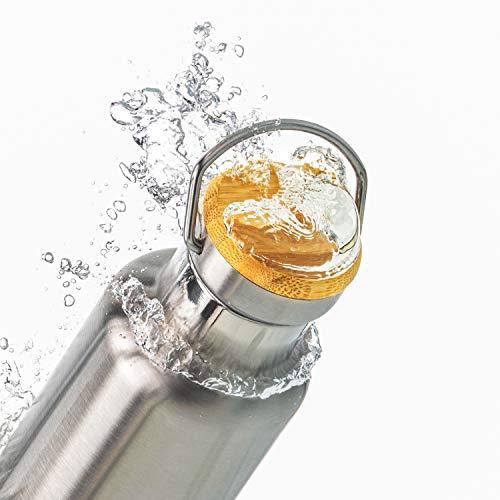 Pure Design Wasserflasche Edelstahl 1000ml 1l, 750ml, 500ml, 350ml Umweltfreundlich Isoliert mit Bambus Deckel für Kinder, Outdoor, Ohne Logos, BPA Frei Lebensdauer GARANTIE