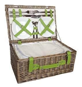 Traditioneller Picknickkorb 'Retro Grün' für 4 Personen Mit Integriertem Kühlfach Und Zubehör - Perfektes Geschenk Zum Geburtstag, Jubiläum, Hochzeit, Ruhestand