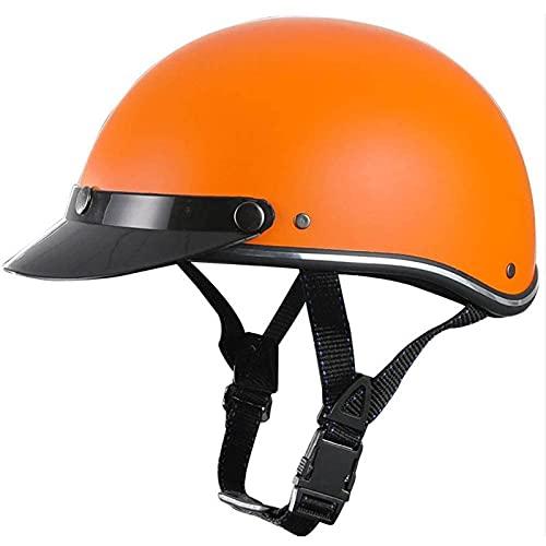 Casco de Motocicleta Vintage - Gorra de béisbol aprobada por Dot Casco de protección Segura para Motocicleta de Media Cara Street Scooter Ciclomotor Four Season Orange, (50-58cm)