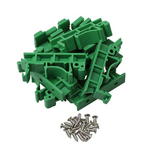 BQLZR 4,2x1x1.8cm grün Kunststoff PCB Schiene Montage Adapter Leiterplatte Halterung Halter für DIN 35 Montageschiene 10 Stück