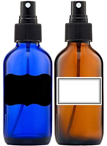 Spray Bottle Small Fine Mist Sprayers Amber and Cobalt Blue glass bottles (4OZ)