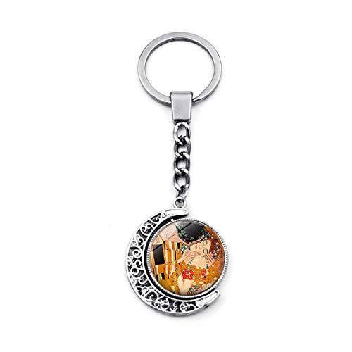 WZLDP Klimt Beso Llavero Tiempo de Piedras Preciosas de Doble Cara Accesorio Llavero Luna Colgante de Plata giratoria de Metal (Color : #1)