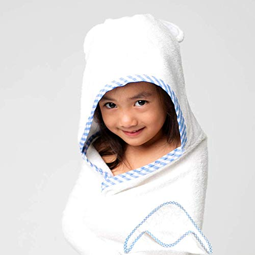 Sayhamora Luxury Organic Hooded Bamboo Bath Towels with Bear Ears for Kids, Toddlers and Babies - Large 40 x 30 inches & Bonus Washcloth